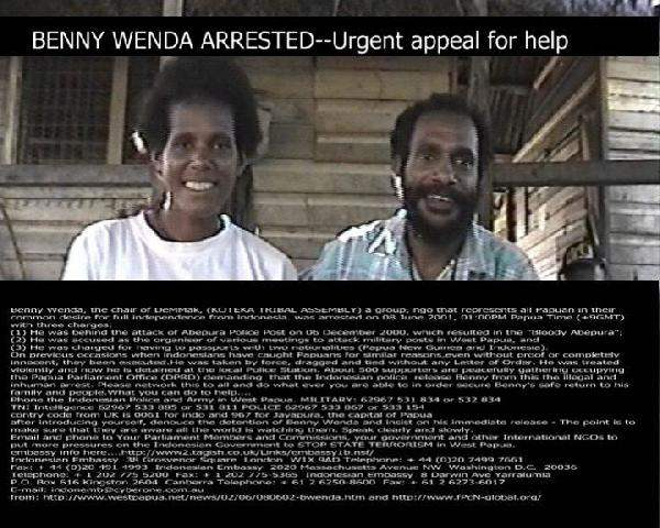 benny wenda arrested...