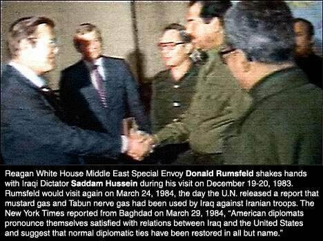 Photo of Rumsfeld and Saddam Hussein meeting in Baghdad, captions added later