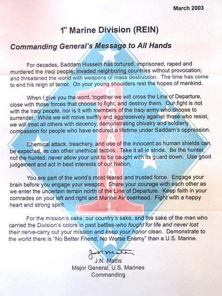 US Marines letter to...
