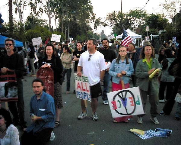 Protestors peacefull...