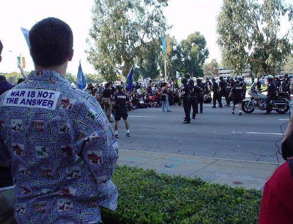 Police Block Protest...