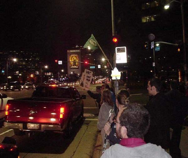 Protestors at Wilshi...
