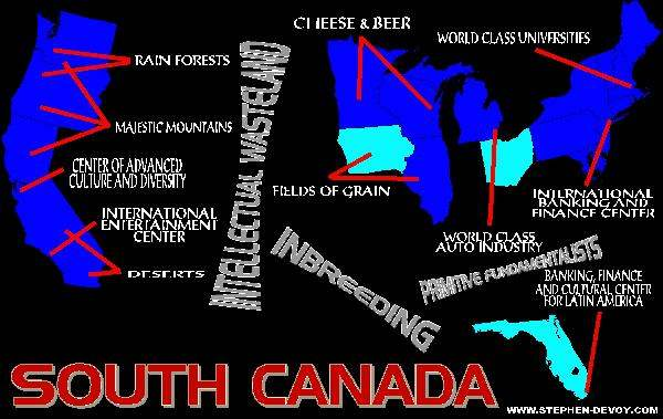 Map of South Canada...