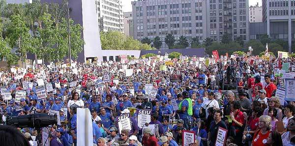 Huge Union Protest A...