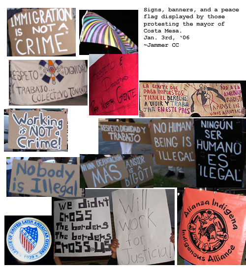 Signs that protester...