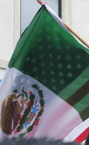 US & Mexico flags in...