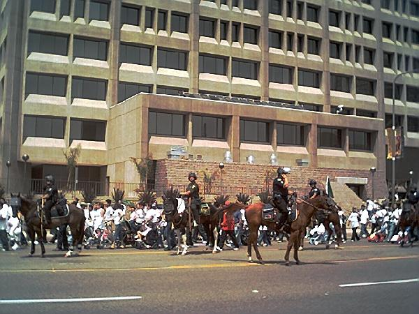 Cops on horseback in...