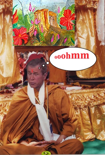 Bush flees to India...