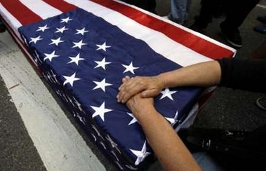 mock coffin...
