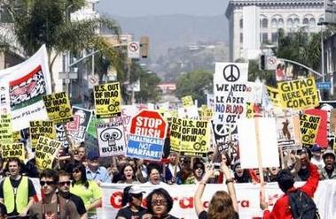 Demonstrators march...