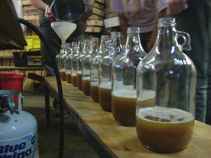 Filling the bottles...
