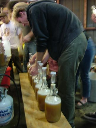 Sealing the bottles ...