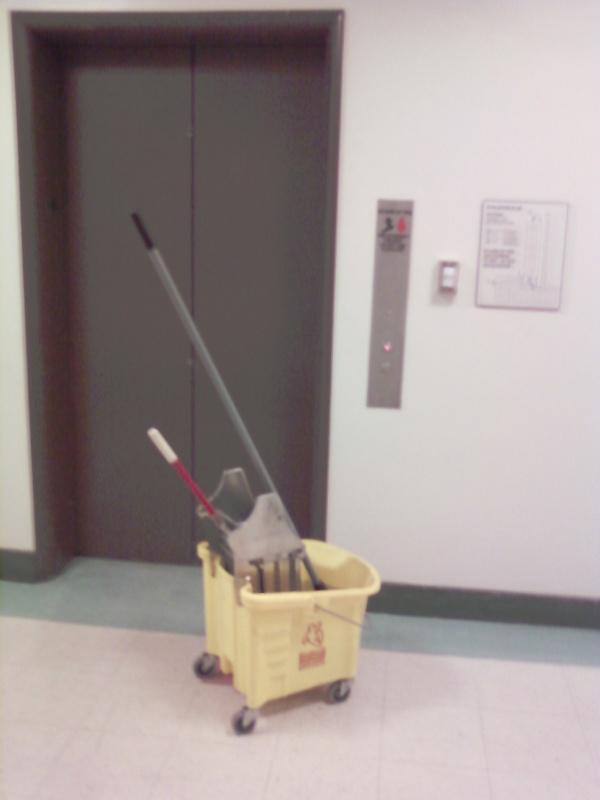 Mop & elevator door...