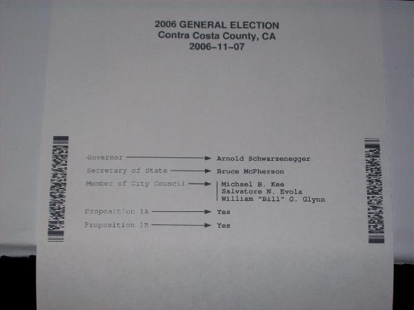 Print-out of ballott...