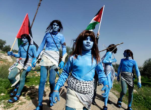 Palestinians dressed...