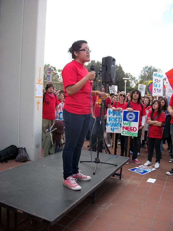 Student organizer speaks on behalf of undocumented UCR students, March 4, 2010