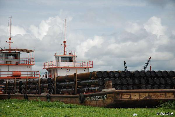 Oil industry barges ...