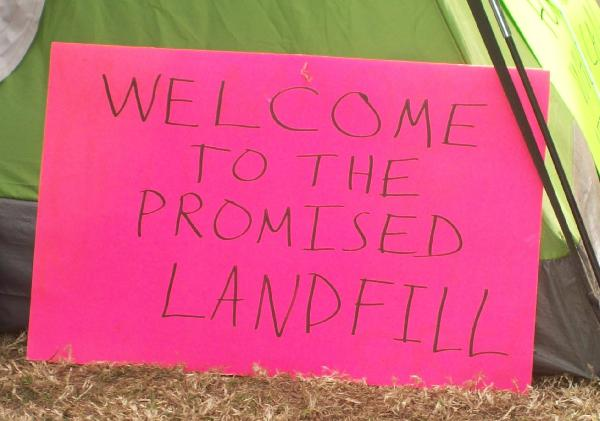 Sign adorning a tent...