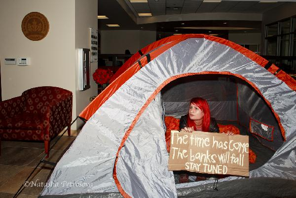 tent inside the bank...