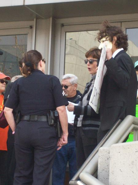 Police woman talking...