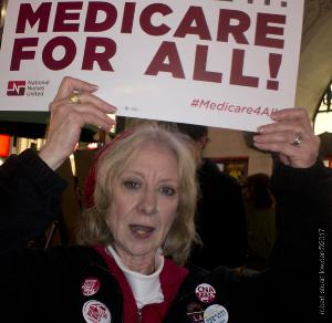 Nurses Storm The Boulevard To Pressure Trump on the ACA
