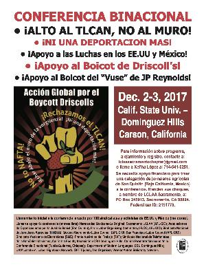 12/2-3 LA Binational Conference To Cancel NAFTA and Unite Workers Of Mexico and the US