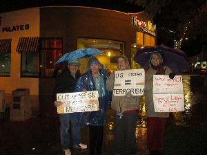 One of many vigils held in the rain