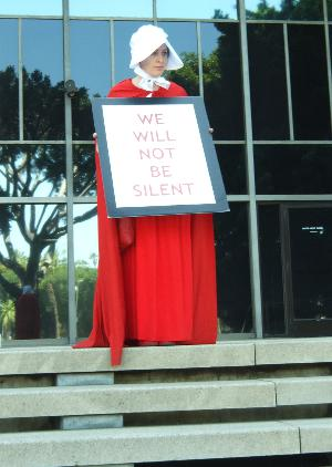 Lady in a Red Pilgrim Dress